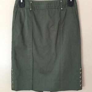 White House Black Market Army Green Pencil Skirt